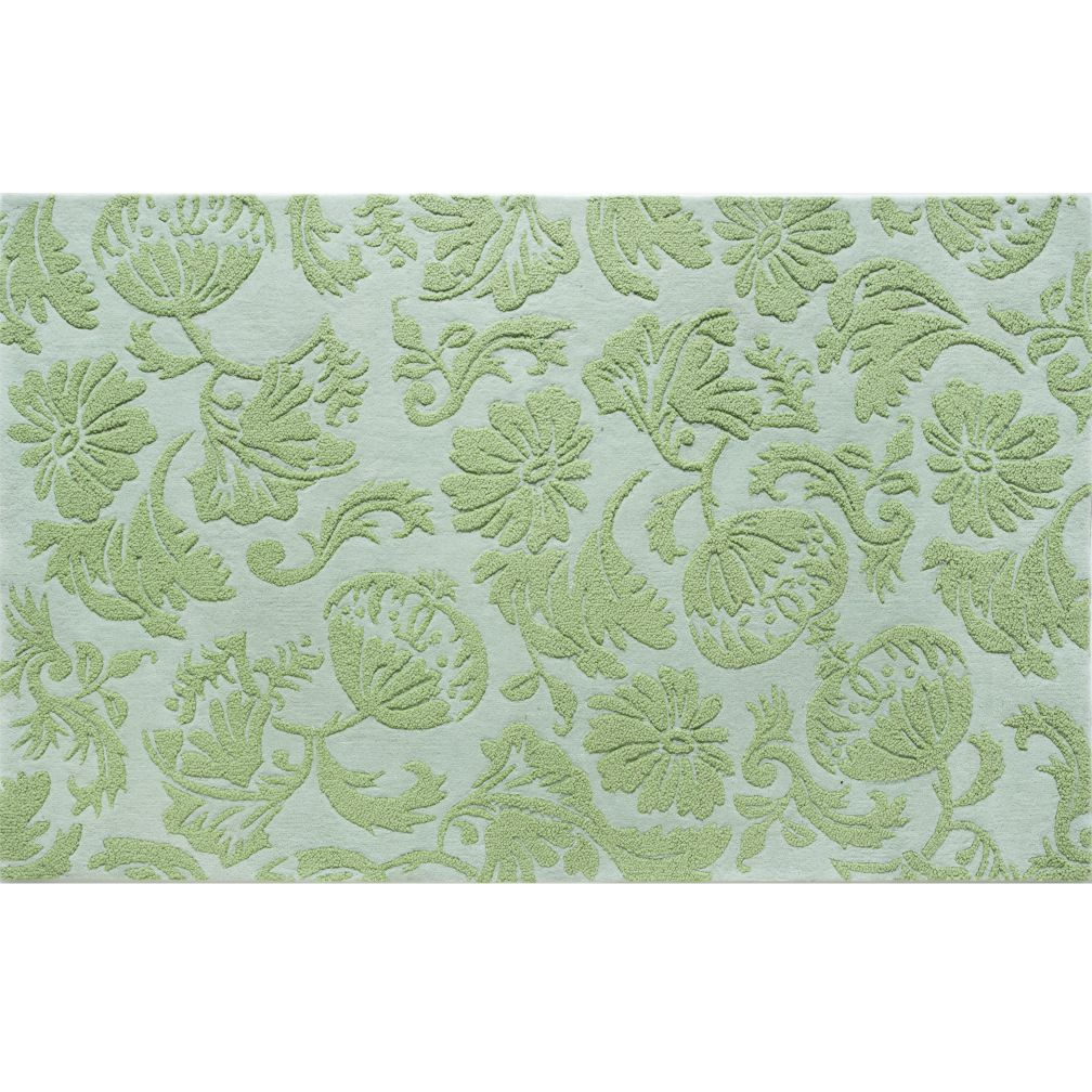 Raised Floral Rug (Green)